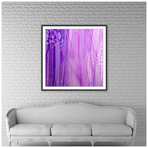 Melbourne contemporary artist, bright flowing colour tails in magenta tones