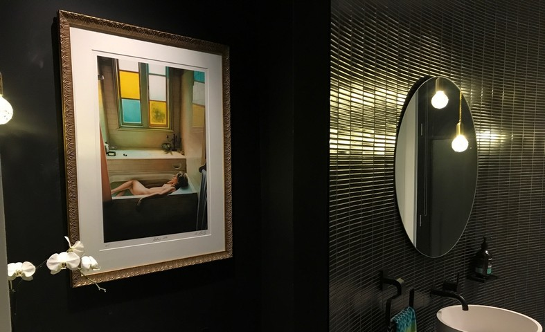 Bathroom image framed in an Italian Designer Frame