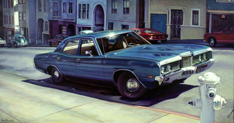 Painting of Vintage American Car, Cadillac.